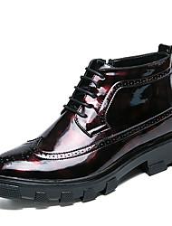 Homme Chaussures Similicuir Automne Hiver Bottes à la Mode Bottes Bottine/Demi Botte Lacet Pour Décontracté Soirée & Evénement Noir Rouge