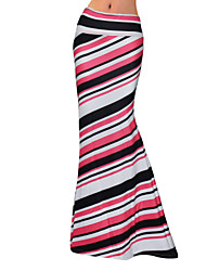 cheap -Women's Going out Holiday Maxi Skirts Bodycon Striped Color Block Spring Fall