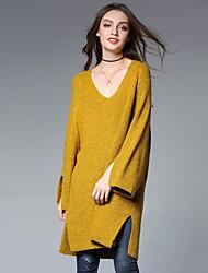 Standard Pullover Da donna-Per uscire Casual Sensuale Semplice Romantico Tinta unita A V Manica lunga Acrilico Nylon Inverno Spesso