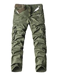 economico -Per uomo Taglie forti A vita medio-alta Vintage Casual Media elasticità Chino Cargo Pants Pantaloni, Tinta unita Cotone Per tutte le
