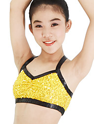 Jazz Tops Women's Children's Performance Elastic Lycra Paillette Sleeveless High Top