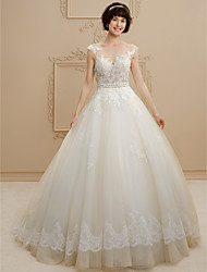 cheap -Ball Gown Illusion Neckline Sweep / Brush Train Tulle Floral Lace Custom Wedding Dresses with Beading Sashes / Ribbons by LAN TING BRIDE®