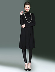 Ample Robe Femme Sortie Décontracté / Quotidien simple,Couleur Pleine Col Roulé Midi Manches Longues Rayonne Polyester Nylon Automne Hiver