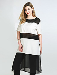 cheap -Cute Ann Women's Daily Club Plus Size Cute Casual Sexy Spring Summer T-shirt,Color Block Round Neck Short Sleeves Polyester Opaque Translucent