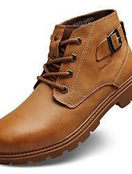 cheap -Men's Shoes Real Leather Cowhide Nappa Leather Winter Fashion Boots Bootie Boots Booties/Ankle Boots Lace-up For Casual Outdoor Khaki