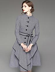 economico -Camicia Vestito Da donna-Per uscire Casual Moda città Con stampe Colletto alla coreana Asimmetrico Manica lunga Poliestere Autunno A vita