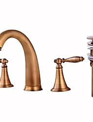 Widespread Brass Valve Two Handles Three Holes Antique Copper , Bathroom Sink Faucet