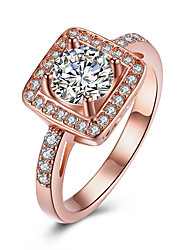 cheap -Women's Crystal Zircon / Alloy Heart Engagement Ring / Band Ring - One-piece Suit Round Rose Gold Ring For Wedding / Party / Birthday