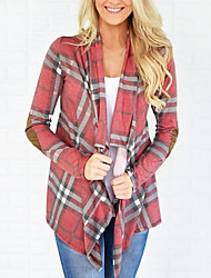 cheap -Women's Daily / Going out Long Sleeve Cardigan - Plaid / Spring / Fall