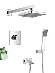 cheap -Contemporary Shower System Rain Shower Handshower Included Ceramic Valve One Hole Chrome , Bathtub Faucet