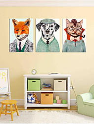cheap -Hand-Painted Pop Art Horizontal Panoramic,Artistic Active Modern/Contemporary Office Three Panels Oil Painting