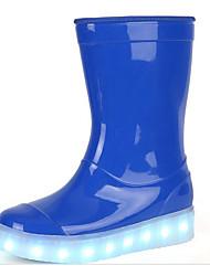 Para Meninas sapatos Couro Envernizado Outono Inverno Conforto Botas de Chuva Botas Para Casual Vermelho Azul