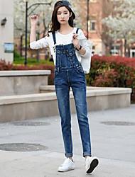 Da donna A vita alta Semplice Media elasticità Tuta da lavoro Pantaloni,Taglia piccola Tinta unita