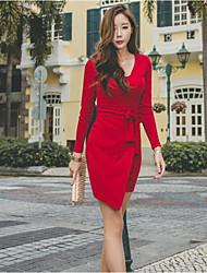 Gaine Robe Femme Décontracté / Quotidien Couleur Pleine Col Arrondi Au dessus du genou Manches Longues Coton Automne Hiver Taille Haute