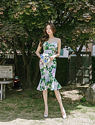 cheap -Women's Daily Going out Bodycon Dress,Floral Strapless Midi Sleeveless Cotton Summer Mid Rise Micro-elastic Opaque