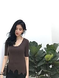 Standard Cashmere Da donna-Casual Semplice Tinta unita Rotonda Mezza manica Altro Primavera Estate Medio spessore Media elasticità