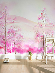 baratos -Árvores/Folhas Padrão 3D Decoração para casa Rústico Revestimento de paredes, Tela de pintura Material adesivo necessário Mural,