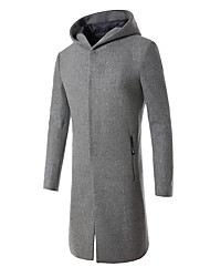 Men's Casual/Daily Simple Fall Winter Coat,Solid Hooded Long Sleeve Long Wool Rayon