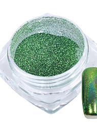 1 g / bouteille magnifique paon vert arc-en-ciel glisten paillettes poudre nail art diy beauté brillant décoration pigment 03