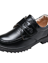 Boys' Shoes Real Leather Cowhide Fall Winter Comfort Loafers & Slip-Ons Hook & Loop For Casual Dress Blue Brown Black