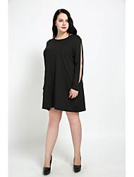 preiswerte -Damen Übergrössen Retro Etuikleid T Shirt Kleid - Gespleisst, Solide Knielang Übers Knie