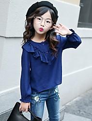 cheap -Girls' Solid Shirt,Cotton Spring Fall Beige Navy Blue