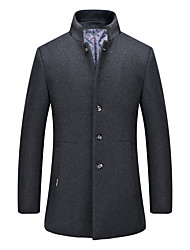 cheap -Men's Daily Plus Size Simple Casual Winter Fall Pea Coat,Solid Stand Long Sleeve Regular Cotton