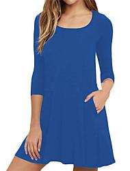 Tee Shirt Robe Femme Décontracté / Quotidien Grandes Tailles Couleur Pleine Col Arrondi Mini Manches Longues Polyester Printemps Automne