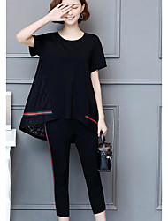 cheap -Women's Daily Casual Summer Blouse Pant Suits,Solid Round Neck Short Sleeve Cotton Micro-elastic