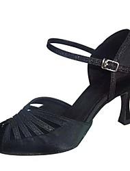 "cheap -Women's Latin Satin Sandal Heel Professional Buckle Customized Heel Black 1"" - 1 3/4"" 2"" - 2 3/4"" 3"" - 3 3/4"" 4"" & Up Customizable"