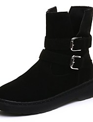 cheap -Women's Shoes PU Fall Winter Snow Boots Boots Flat Heel Round Toe Mid-Calf Boots Lace-up For Casual Khaki Black