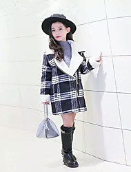 cheap -Girls' Check Jacket & Coat,Wool Cotton Winter Fall Long Sleeve Check White Red