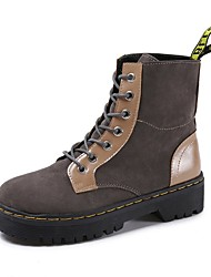 Women's Shoes Suede Fall Combat Boots Boots Chunky Heel Round Toe Lace-up For Casual Gray Black