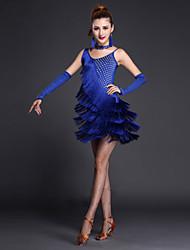 Danse latine Tenue Femme Spectacle Acrylique Fibre de Lait Sans manche Taille haute Robe Manche Short Tour de Cou