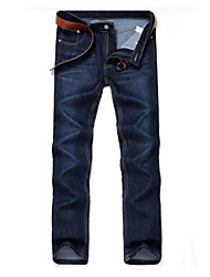 Men's Mid Rise Inelastic Straight Jeans Pants,Casual Solid Cotton Spring Fall