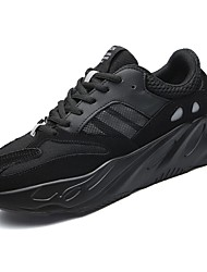 cheap -Men's Shoes Breathable Mesh Tulle Spring Fall Comfort Athletic Shoes Running Shoes Lace-up For Athletic Casual Gray Black