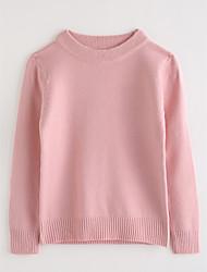 Girls' Solid Blouse,Cotton Fall Long Sleeve Blushing Pink