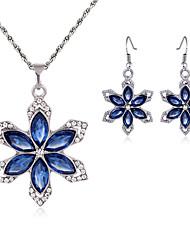 Women's Drop Earrings Necklace Crystal Rhinestone Fashion Luxury Crystal Rhinestone Flower Earrings Necklace For Wedding Party Wedding