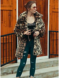 cheap -Women's Daily Work Simple Casual Active Street chic Winter Fall Fur Coat,Leopard Square Neck Long Sleeve Long Faux Fur Polyester Others