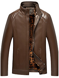 cheap -Men's Daily Plus Size Simple Casual Winter Fall Leather Jacket,Solid Stand Long Sleeve Regular PU
