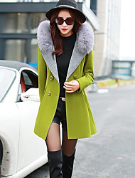 Women's Going out Casual/Daily Street chic Fall Winter Coat,Solid Hooded Long Sleeve Regular Wool Polyester
