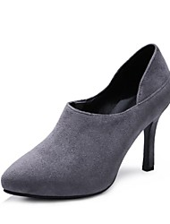 Women's Shoes Fleece Fall Novelty Heels Stiletto Heel Pointed Toe For Wedding Dress Light Grey Black