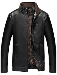 cheap -Men's Daily Plus Size Simple Casual Winter Leather Jacket,Solid Stand Long Sleeve Regular PU