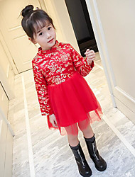 cheap -Girl's Daily Solid Dress,Cotton Polyester Winter Fall Long Sleeve Floral Red