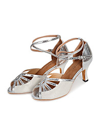 "Women's Latin Glitter Leatherette Heel Indoor Splicing High Heel Gold Black Silver 2"" - 2 3/4"" Customizable"