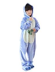 cheap -Kigurumi Pajamas with Slippers Blue Monster / Anime Onesie Pajamas Costume Flannel Fabric Pink / Blue Cosplay For Kid's Animal Sleepwear