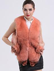 Feminino Colete Casual Sofisticado Outono Inverno,Sólido Curto Pêlo de Raposa Decote V