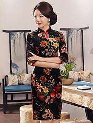 abordables -Mujer Tallas Grandes Corte Bodycon Vestido Floral Tiro Bajo Hasta la Rodilla Escote Chino