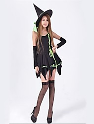 cheap -Witch Cosplay Costumes Masquerade Female Christmas Halloween Carnival New Year Festival / Holiday Halloween Costumes Green Solid Color