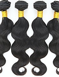 cheap -Human Hair Brazilian Natural Color Hair Weaves Body Wave Hair Extensions 4 Pieces Black